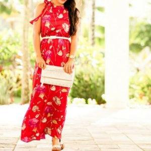 New Banana Republic S Red Floral  Maxi dress